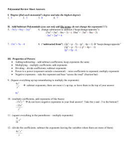 Polynomial Review Sheet Answers