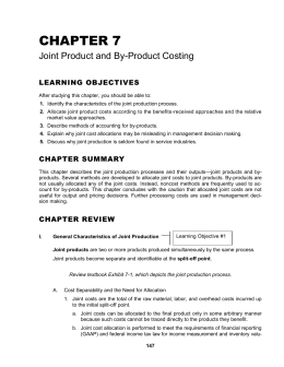 Chapter 7--Joint Product and By