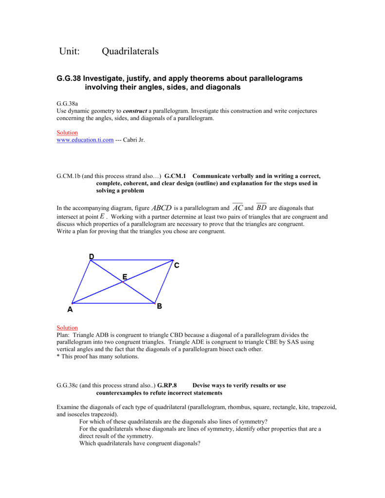 Geometry Unit 2 - Quadrilateral Sample Tasks with Solutions