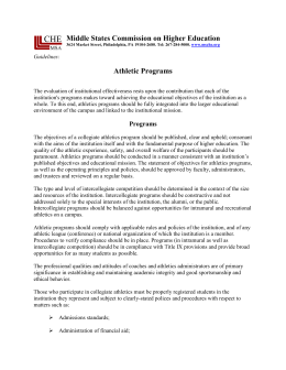 Guidelines: Athletic Programs 1 Middle States Commission on