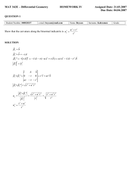 MAT 342E – Differential Geometry HOMEWORK IV Assigned Date