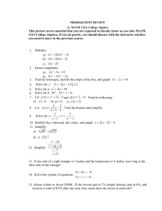 MATH 1314 - Austin Community College