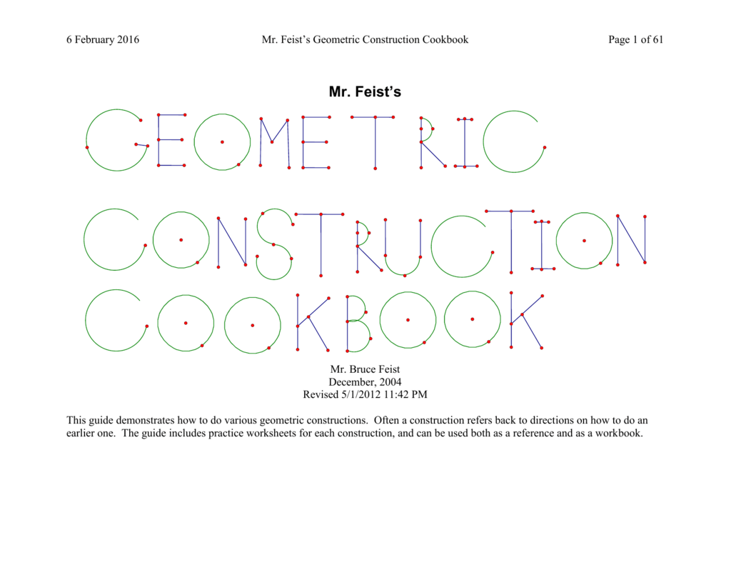 Construction Cookbook – Geometry Construction Worksheets