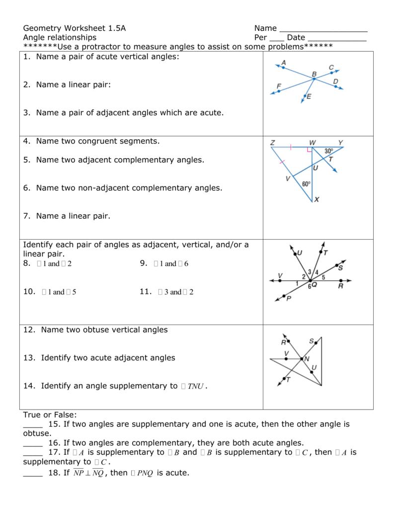 worksheet Adjacent And Vertical Angles Worksheet geometry worksheet 1
