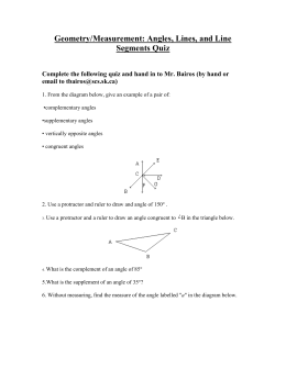 Geometry/Measurement: Angles, Lines, and Line Segments Quiz