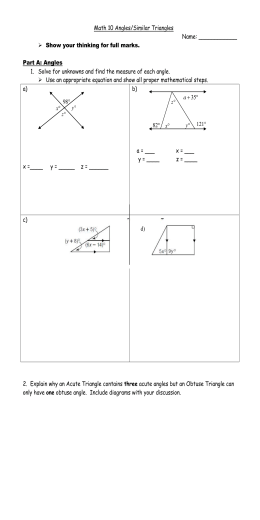 Math 10 Assignment: Angles/Similar Triangles