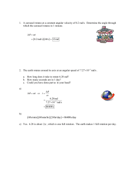 Worksheet rotational motion Word document