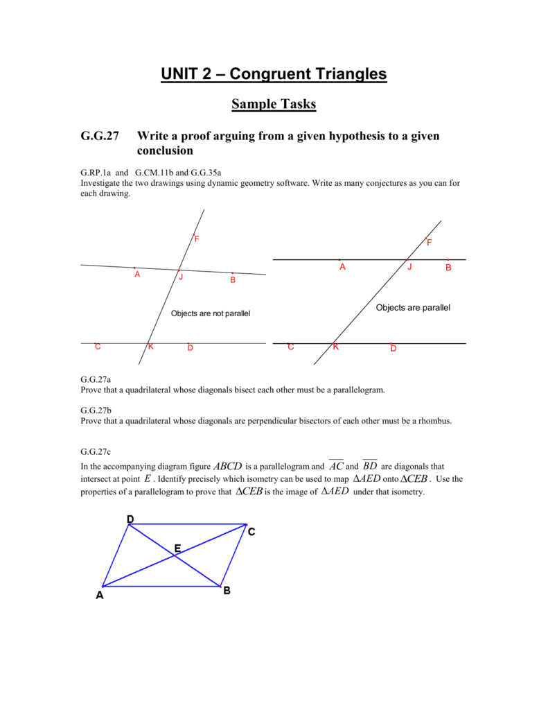 Geometry unit 2 congruent triangles sample tasks ccuart Gallery