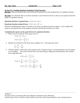 Lecture notes for Section 8.5 - Madison Area Technical College