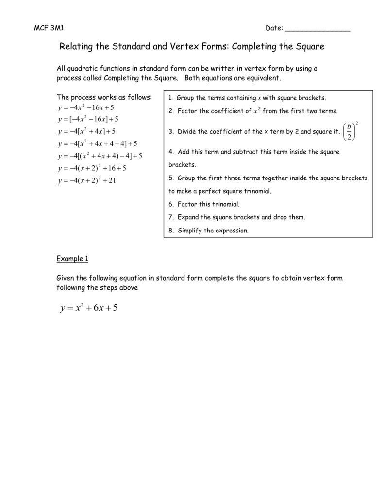 Relating the standard and vertex forms completing the square falaconquin