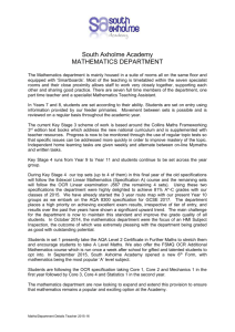 MATHEMATICS DEPARTMENT - South Axholme Academy