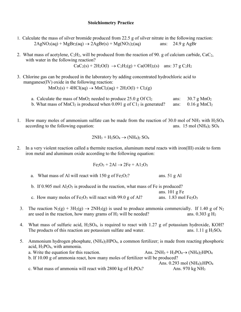 Chapter-9 Stoichiometry Calculations