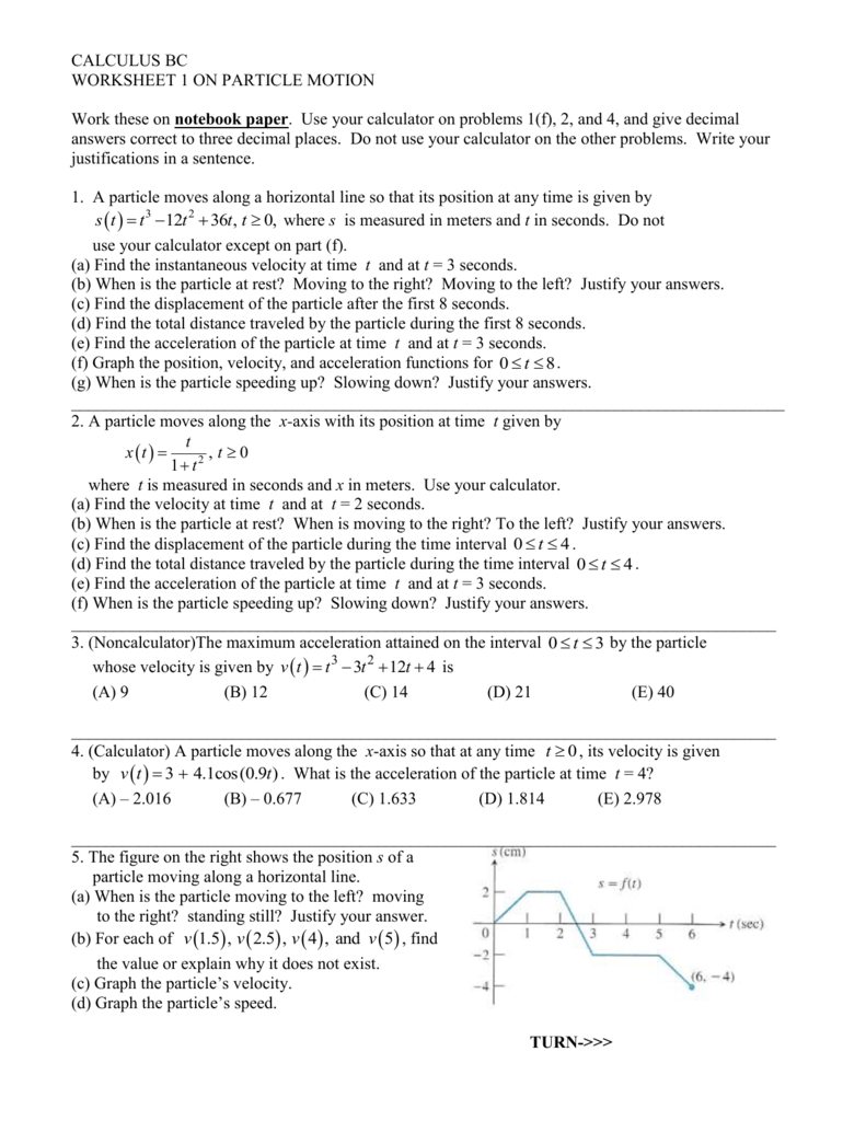 CALCULUS BC – Velocity and Acceleration Calculation Worksheet Answers