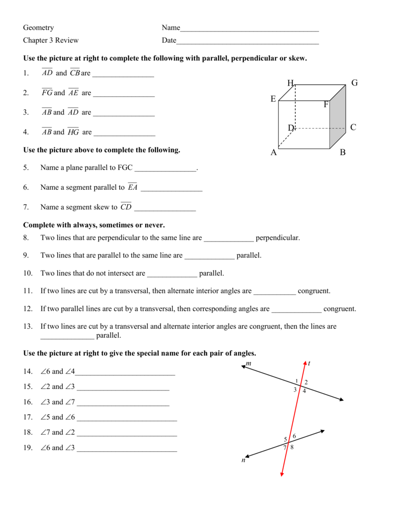 Worksheet Unit 3 Parallel And Perpendicular Lines Homework ...