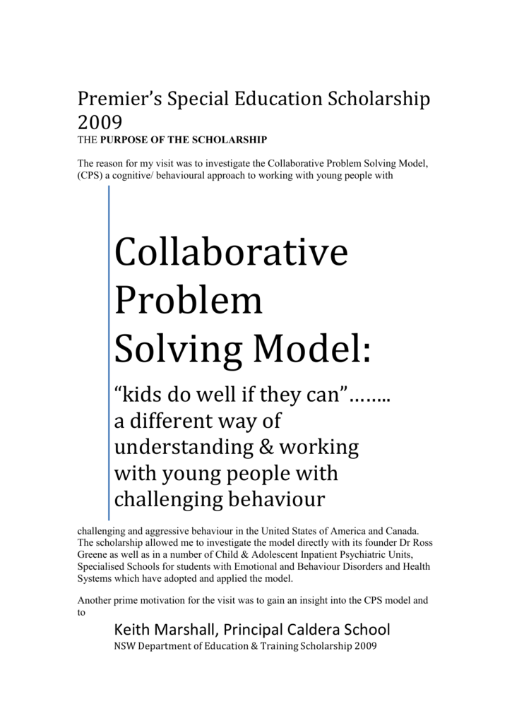 Dr Ross Greene Educating Kids Who Have >> Collaborative Problem Solving Model
