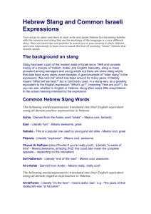 Hebrew Slang and Common Israeli Expressions