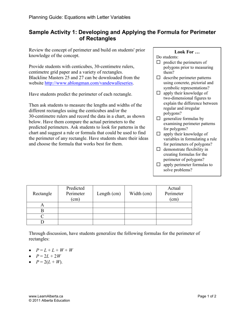 Sample Activity 1: Developing and Applying the Formula for