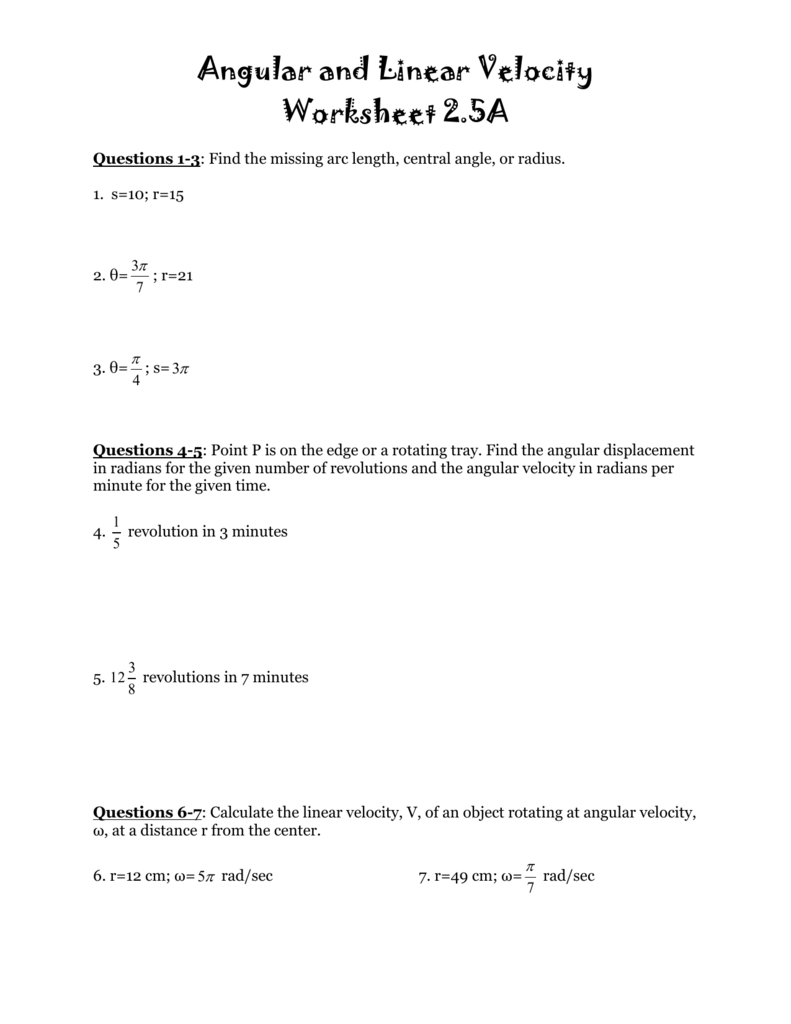 worksheet Angular Velocity Worksheet angular and linear velocity