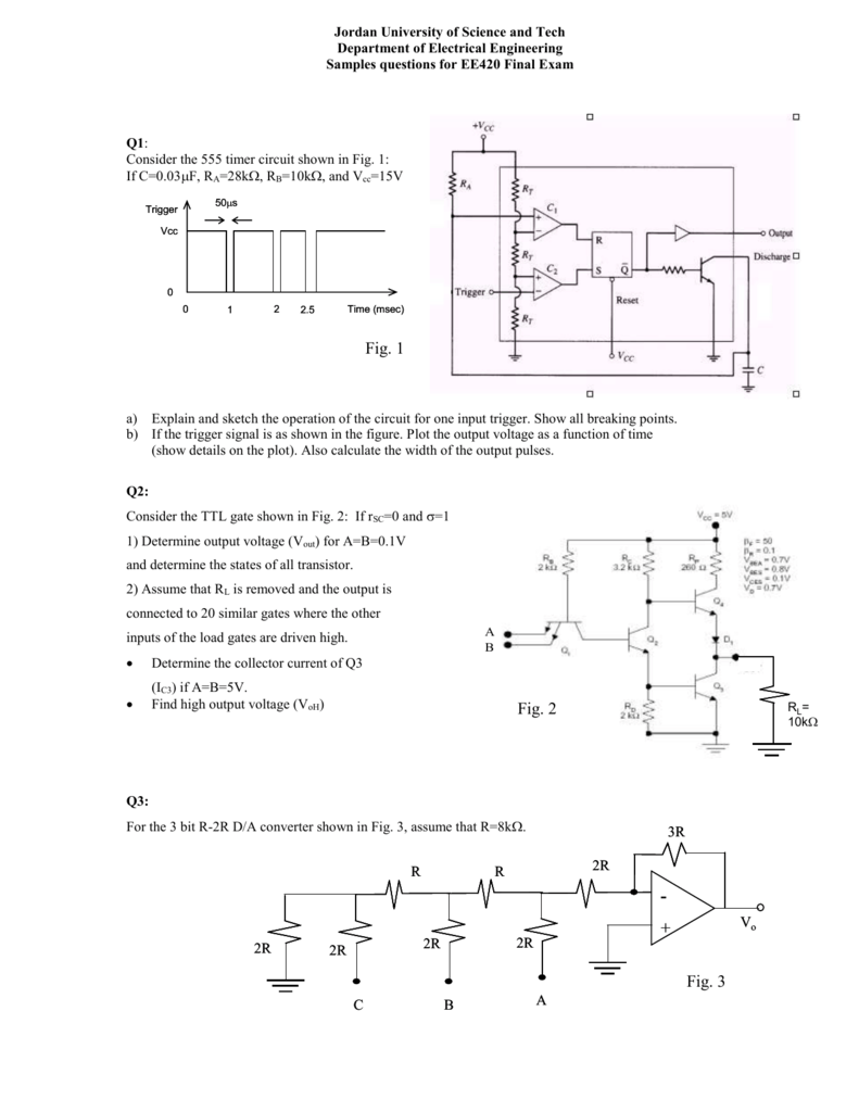 Q1 For The Circuit Shown Below 555 Monostable