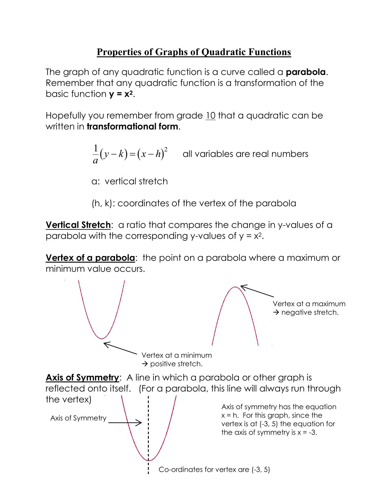 Quadratic Function Properties
