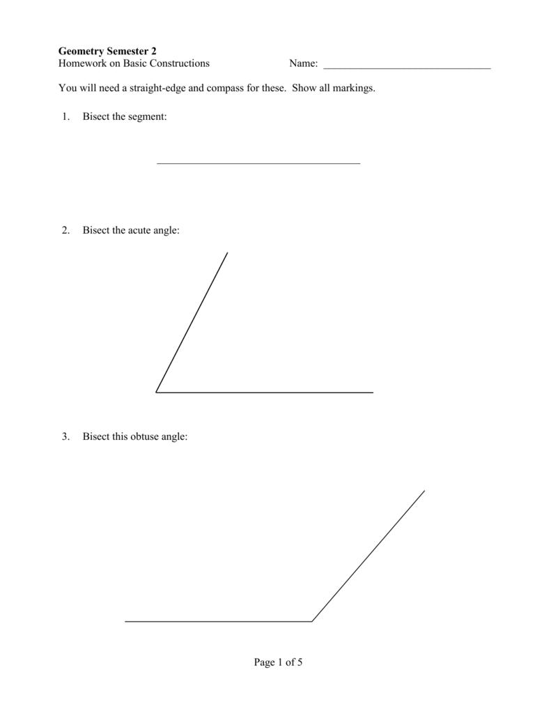 worksheet Bisect Angles Worksheet homework on basic constructions