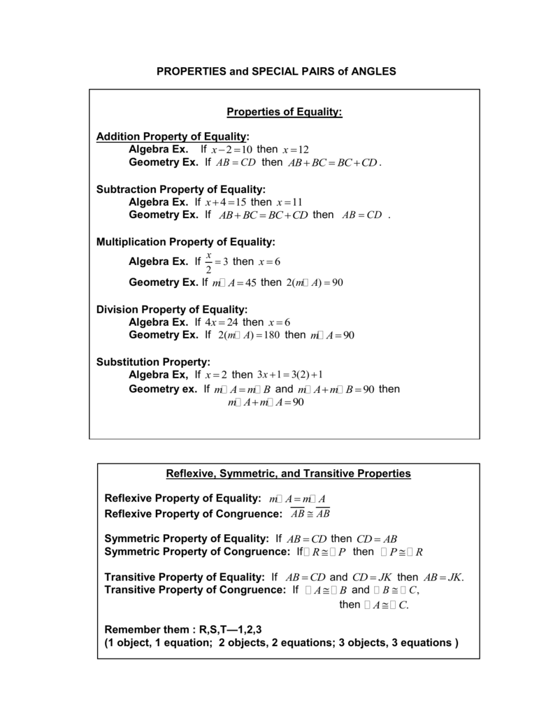 worksheet Define Reflexive Property properties and special pairs of angles