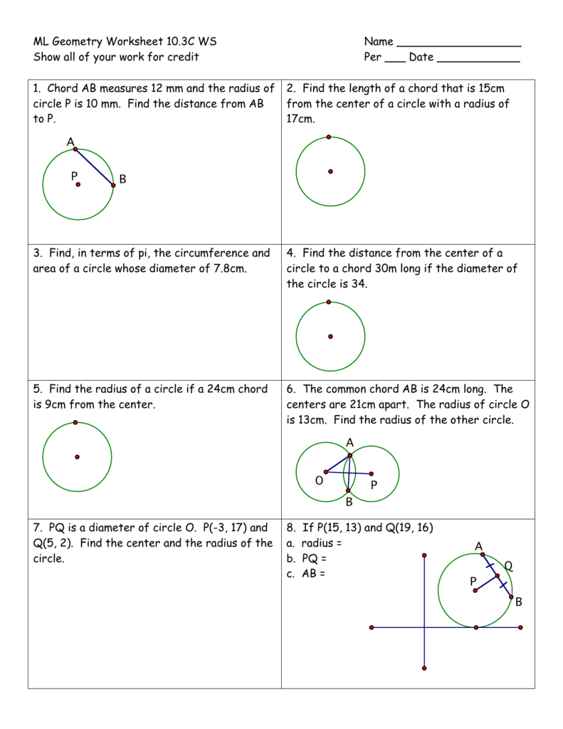 Workbooks worksheets on circumference and area of a circle : Geometry Worksheet 10
