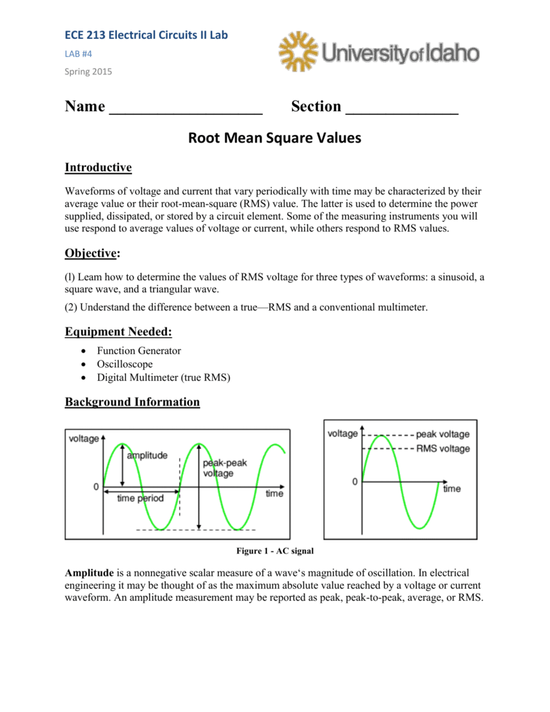 Average and RMS Value - Electrical and Computer Engineering