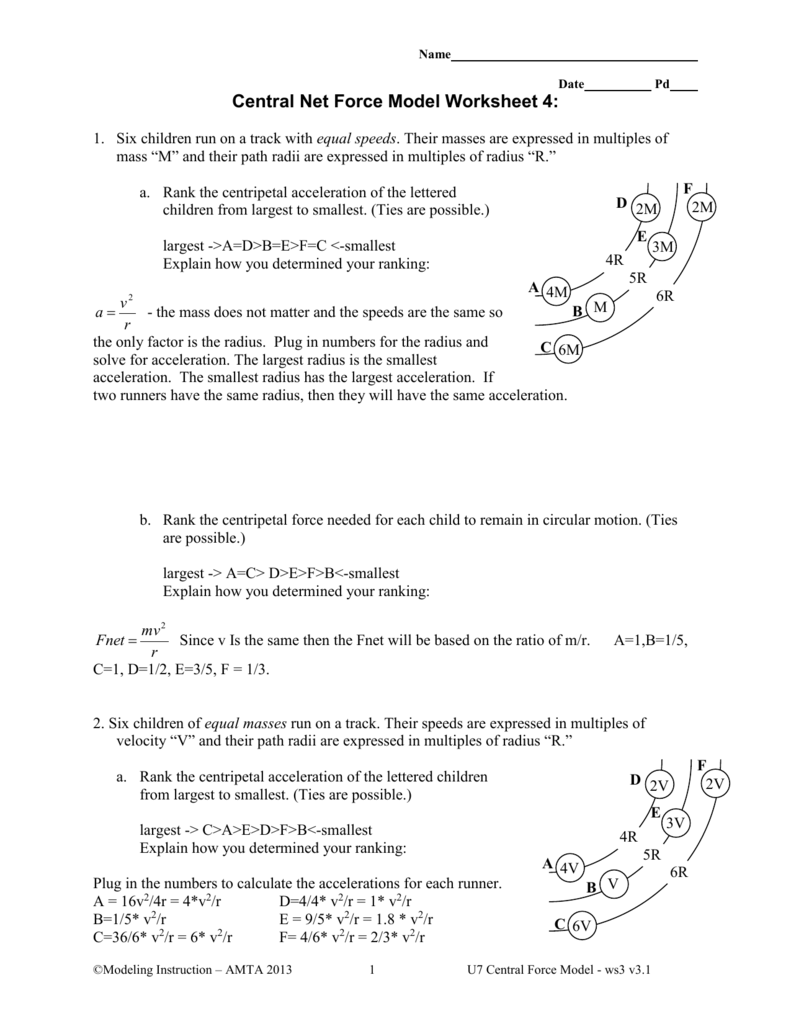 Worksheets Centripetal Force Worksheet name of model