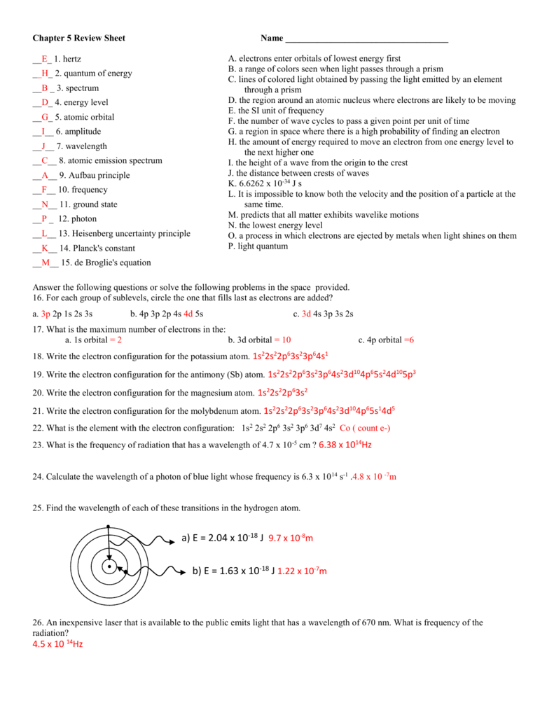 Chapter 5 ReviewSheet Key – Electron Configuration Practice Worksheet
