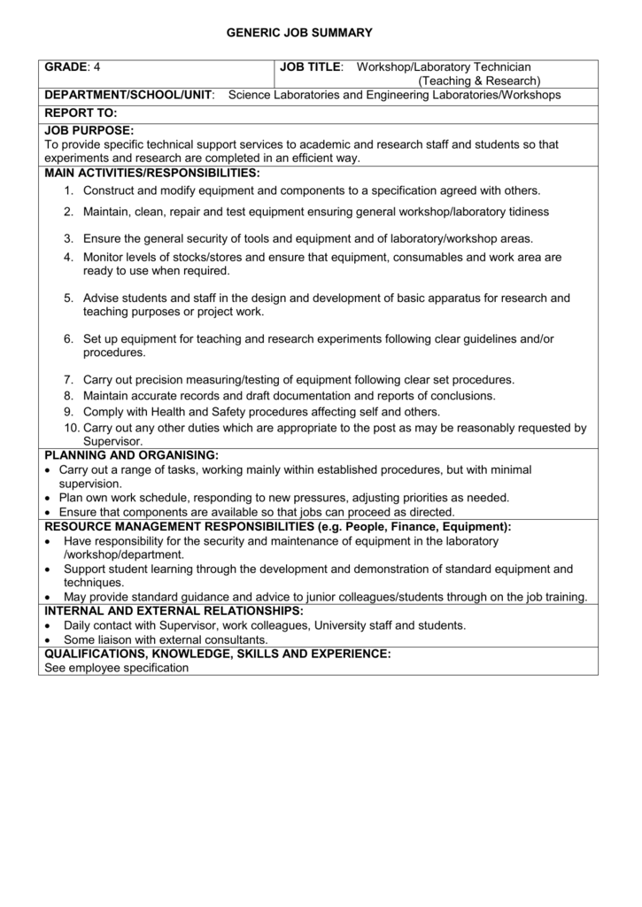 school lab technician job description