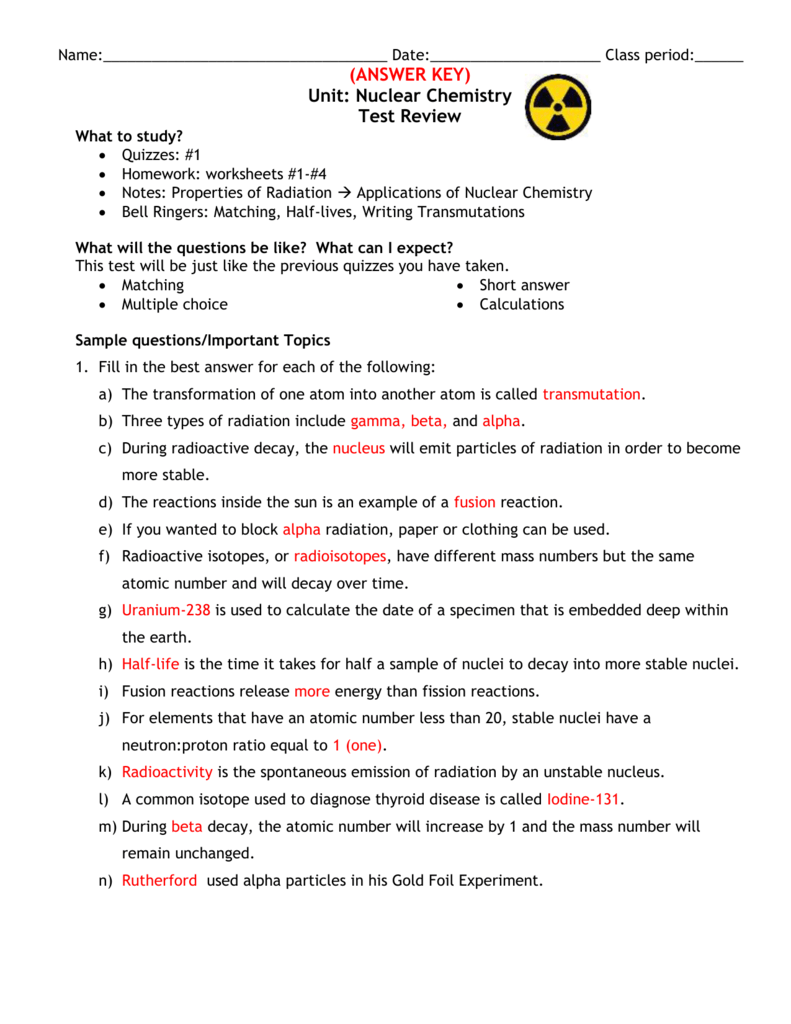Test Review Answers – Nuclear Decay Worksheet