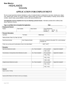 application for employment - New Mexico Highlands University