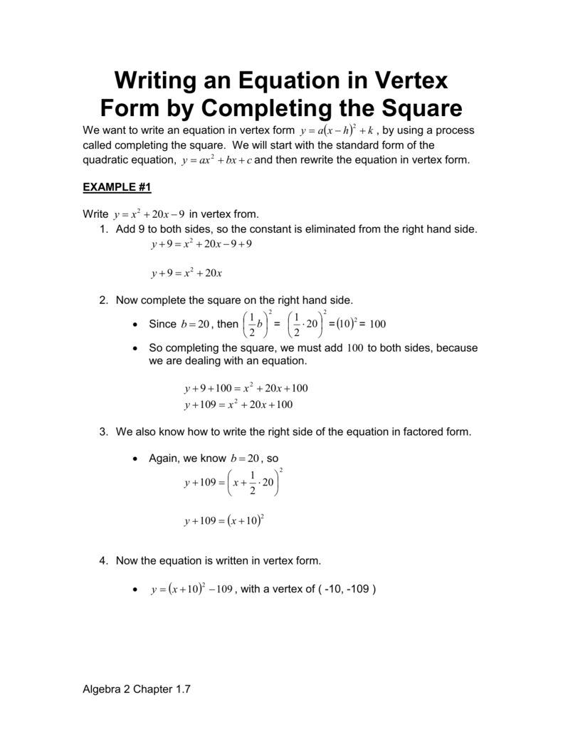 Writing an equation in vertex form falaconquin