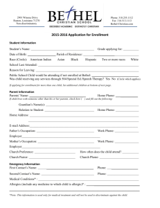 2015-2016 Application for Enrollment