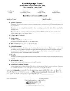 Enrollment Document Checklist