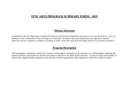 Program Summary Form - Fine Arts Department