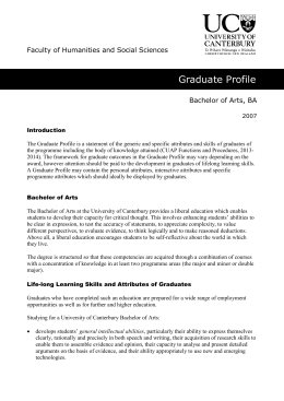 Bachelor of Arts - University of Canterbury