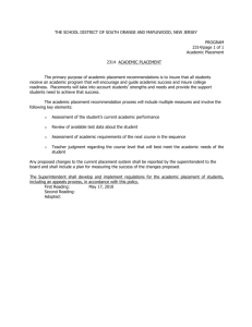 Policy 2314 - Academic Placement - South Orange