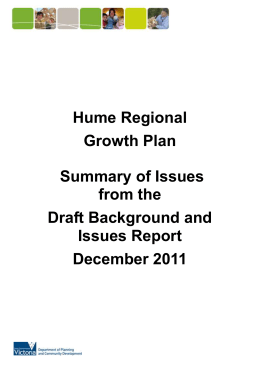 HUME REGIONAL GROWTH PLAN - Department of Transport