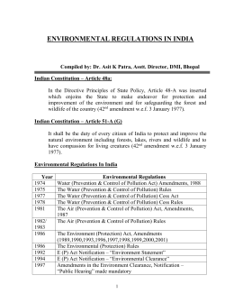 ENVIRONMENTAL REGULATIONS IN INDIA - Hrdp