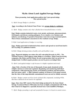 Myths About Land-Applied Sewage Sludge