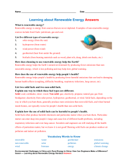 Learning about Renewable Energy Handout Answers