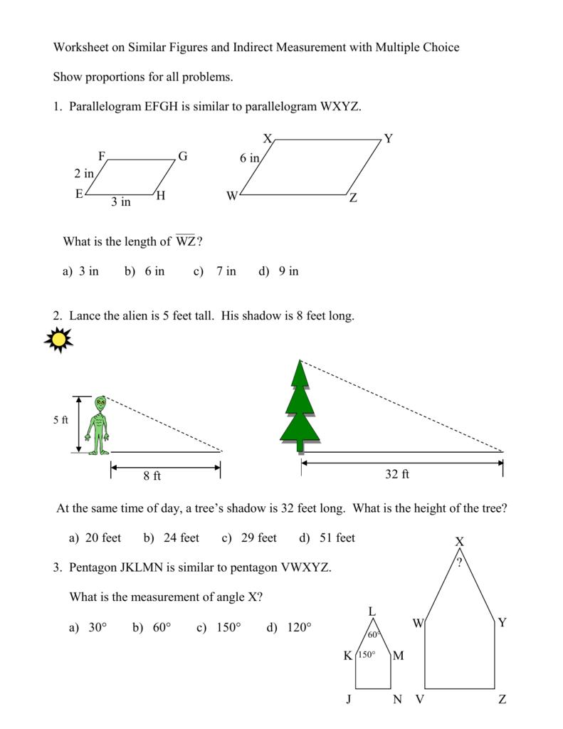 1 Worksheet on Similar Figures with Multiple Choice – Indirect Measurement Worksheet