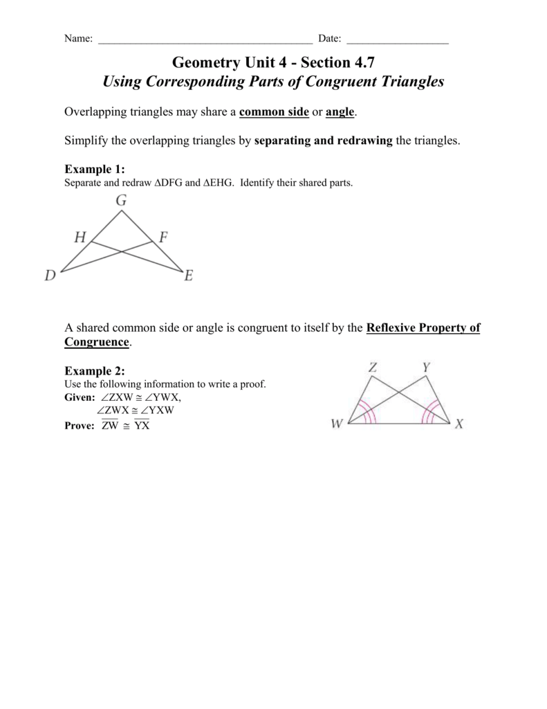 worksheet Geometry Worksheet Congruent Triangles Answers 4 7 using corresponding parts of congruent triangles