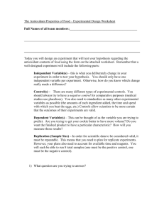The Antioxidant Properties of Food – Experimental Design Worksheet
