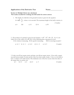 Applications of the Derivative Test #3