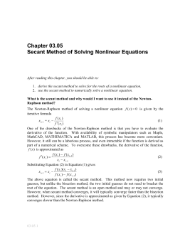 Secant Method of solving Nonlinear equations