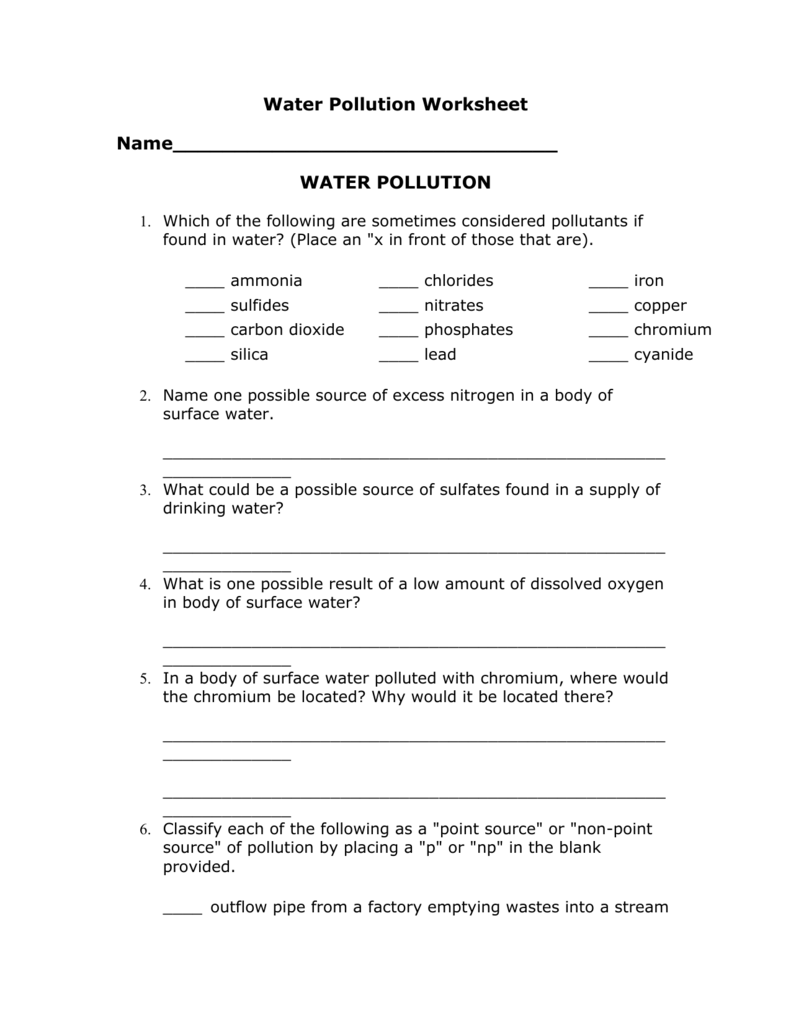 Water Pollution Worksheet