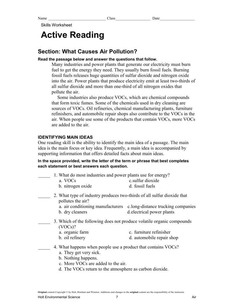 worksheet Air Pollution Worksheet active reading what causes air pollution